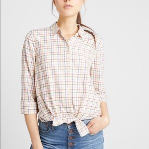 NWT Madewell Tie-Front Shirt in Rainbow Plaid